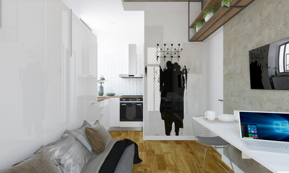 3D views, interior design tiny studio