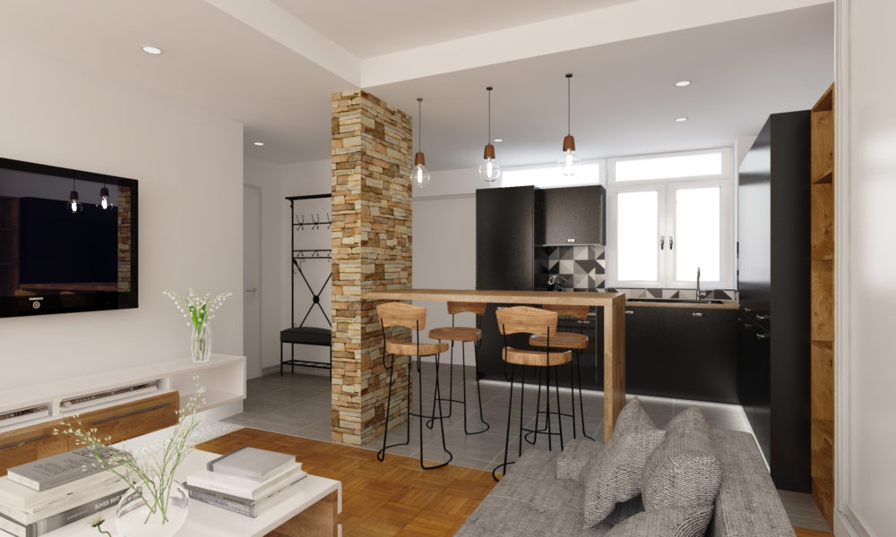 3D views, small appartement interior design